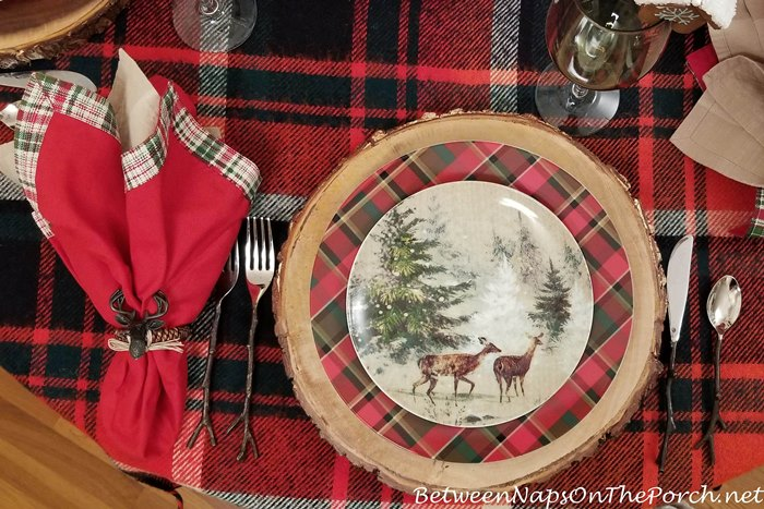 Deer Plates & Twig Flatware Paired with Plaid for a Winter Table Setting