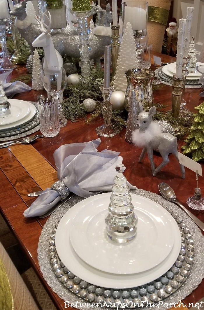 Elegant Silver, Crystal Table Setting for Christmas