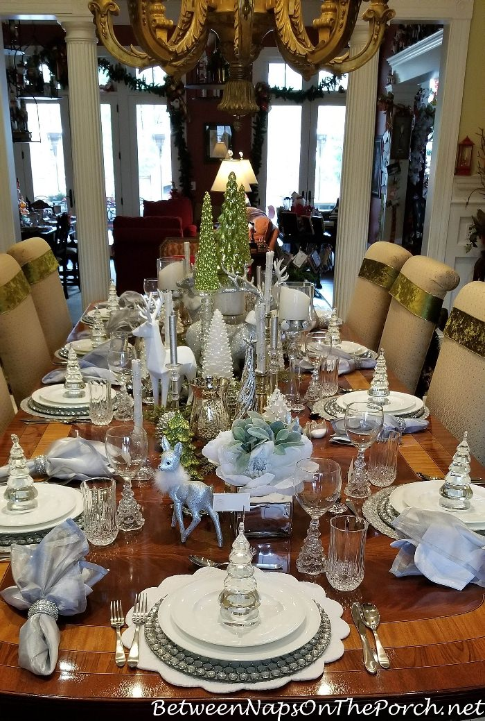 Green, White, Crystal Table Setting