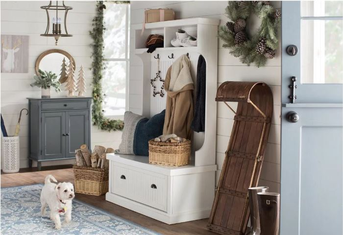Hall Tree in Entry for Storage