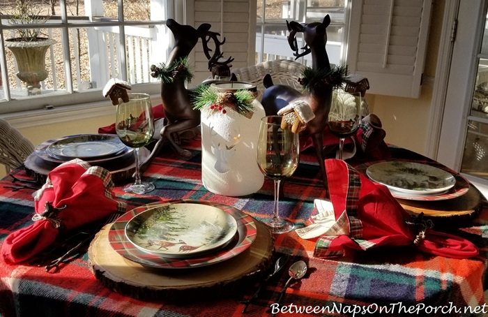 Plaid Throw for a Winter Table Setting