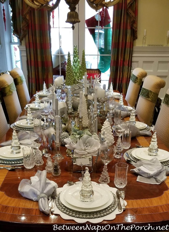 Set and elegant table in Green and White with Accents of Crystal