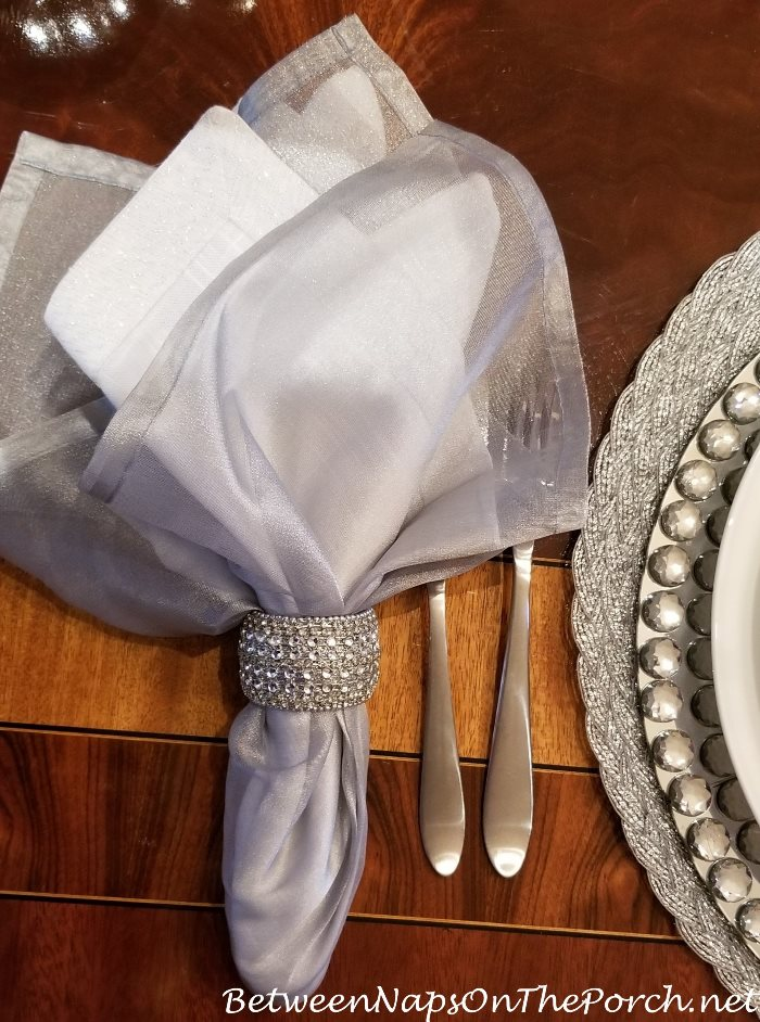Silver Napkins with Jeweled Silver Napkin Rings