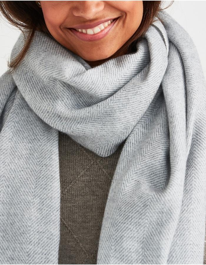 Soft Gray Herringbone Cashmere Scarf