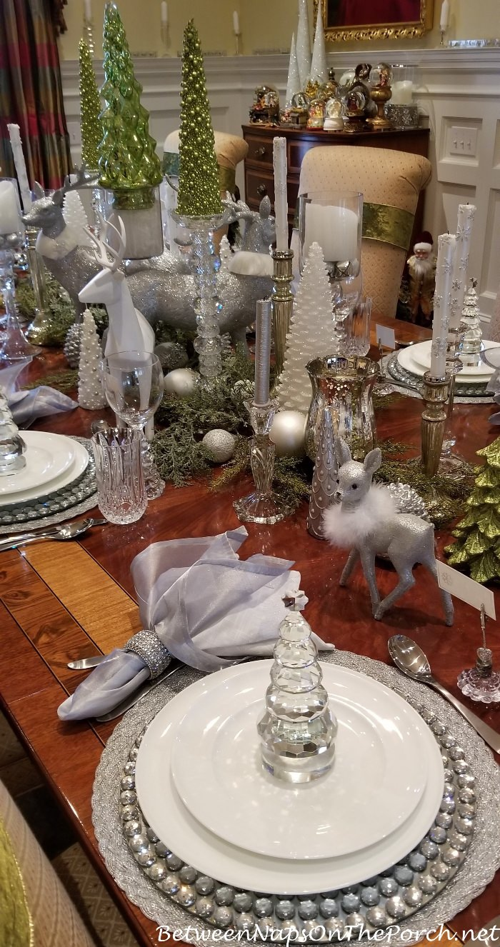 Table with Green, White, Crystal and Silver Centerpiece