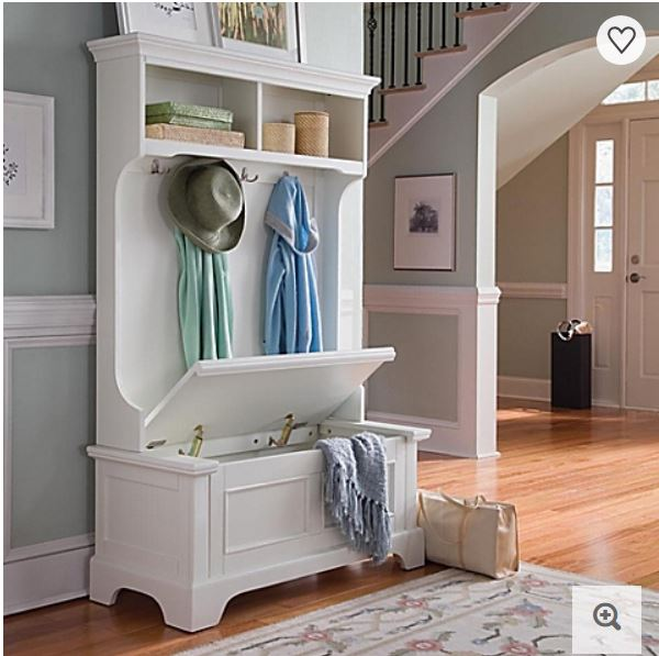 White Mudroom Hall Tree With Bench Storage And Cubbies