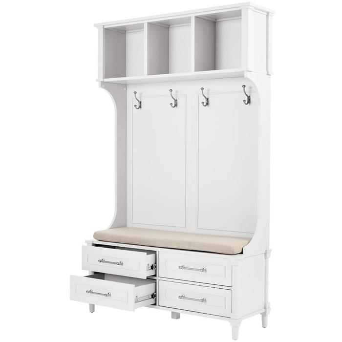 White, Tall Hall Tree, Bench, Drawers & Cubbies
