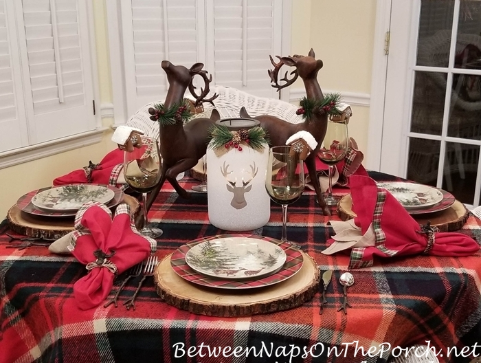 Winter Woodland Table in Plaid