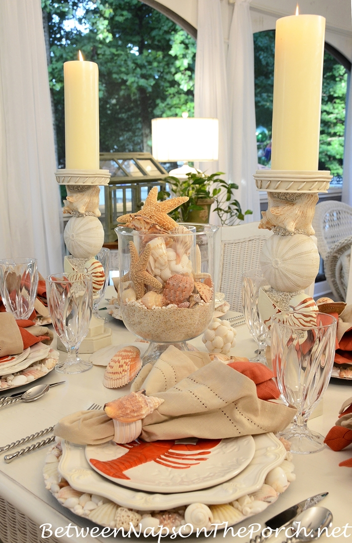 Beach Themed Table with Lobster & Crab Plates, Shell Chargers