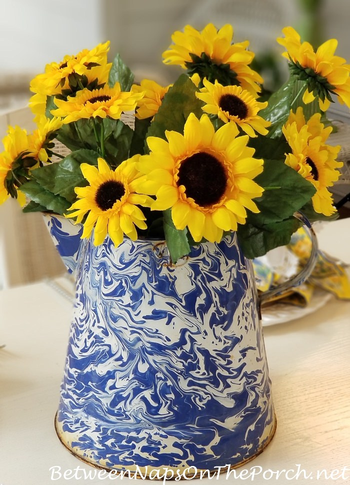 Blue & White Graniteware Pitcher with Sunflowers