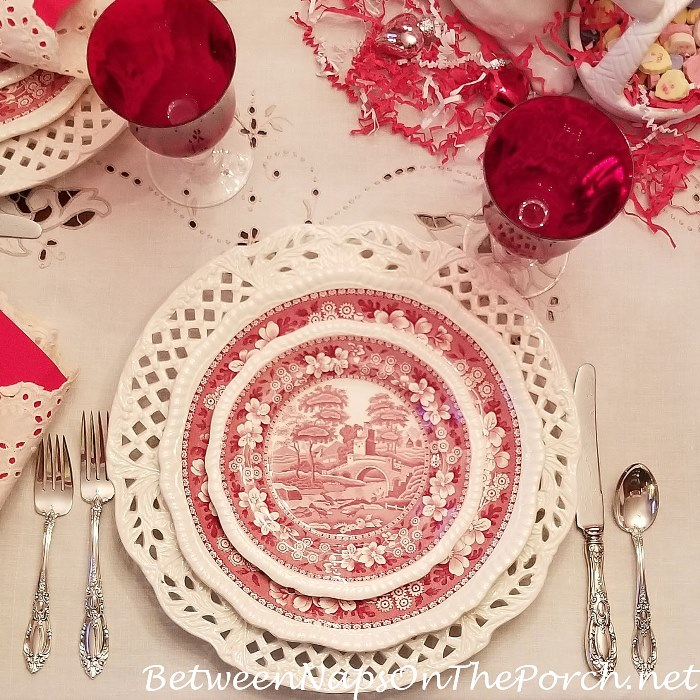 Copeland Spode Tower for a Valentine's Day Table