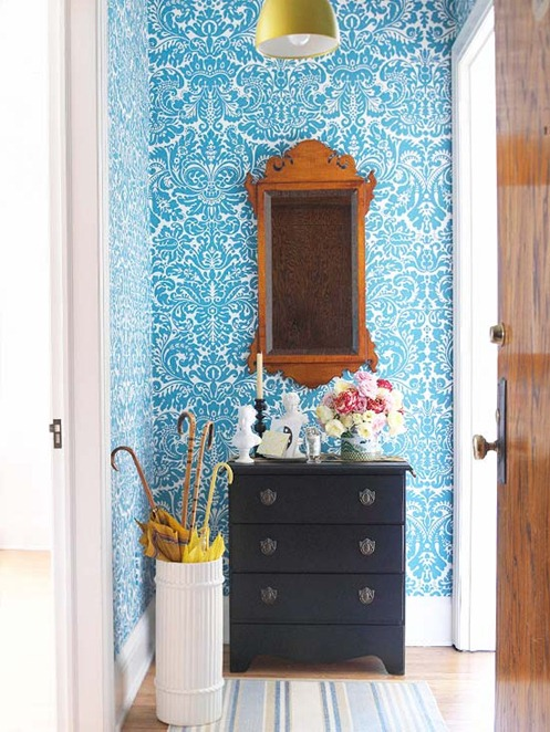 Damask Blue Wallpaper in Entry