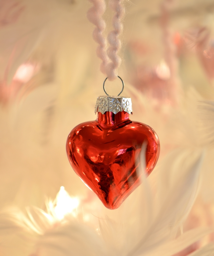 Decorate for Valentine's Day with Mercury Glass Heart Feather Tree