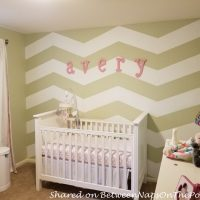 Girls Nursery with Chevron Accent Wall