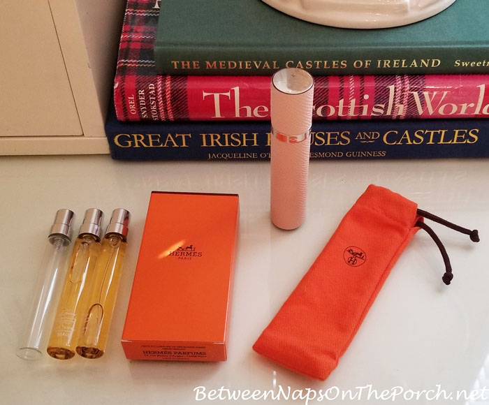 Hermes Atomizer in Epsom Leather, Egalntine Pink, 24 Faubourg Perfume Refills