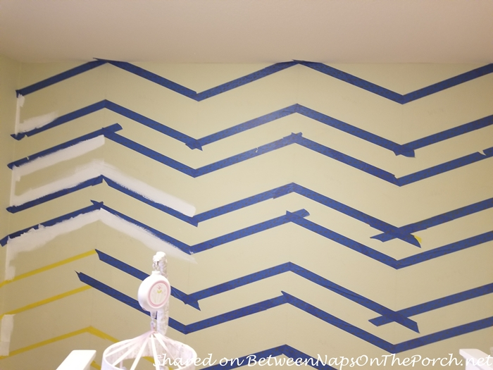Painter's Tape Used to Create Chevron Pattern on Wall