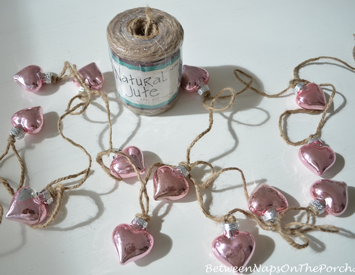 Pink Mercury Glass Heart Garland, DIY Craft