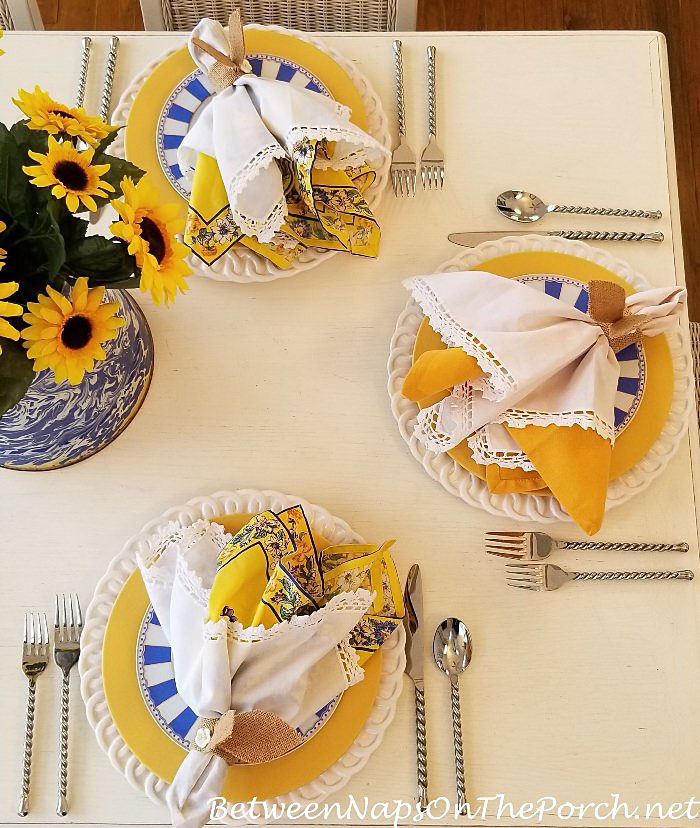 Spring-Easter Tablescape, Yellow, Blue & White