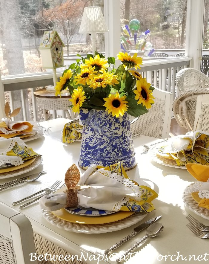 Sunny Porch Table with Sunflower Centerpiece