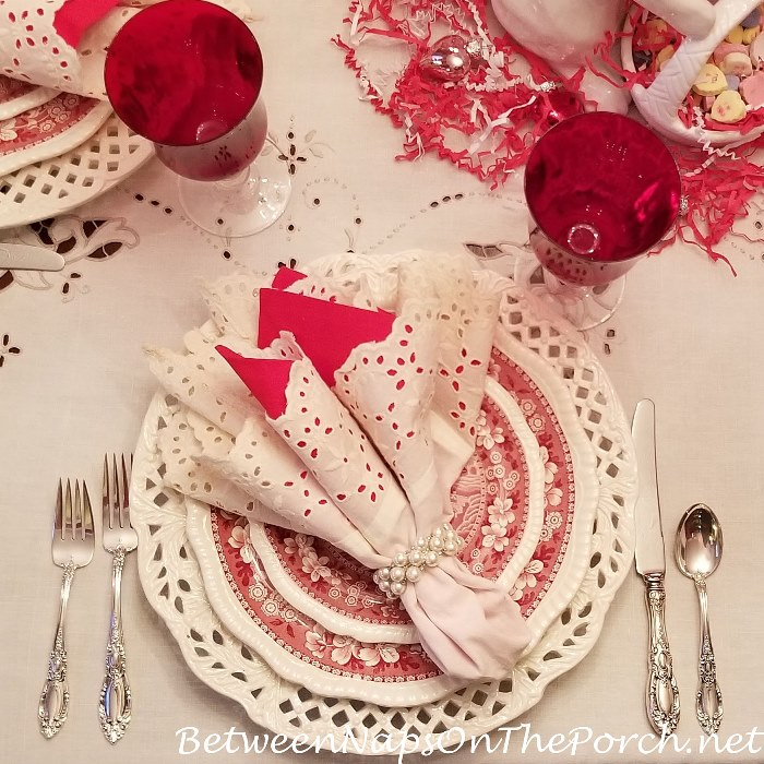 Valentine's Day Table Setting, Eyelet Chargers, Table Cloth and Napkins
