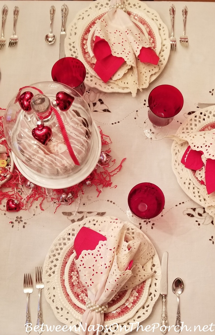 Valentine's Day Table Setting, Eyelet Table Cloth and Napkins
