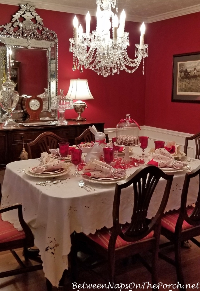 Valentine's Day Table Setting in Red Dining Room