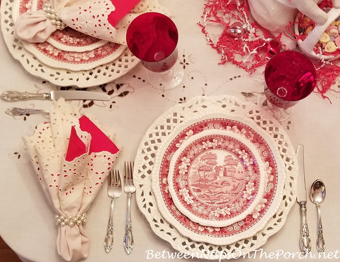 Valentine's Day Table Setting with Spode Tower, Red & Cream