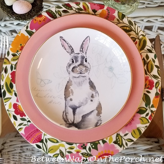 Adorable Bunny Plate with Floral Charger