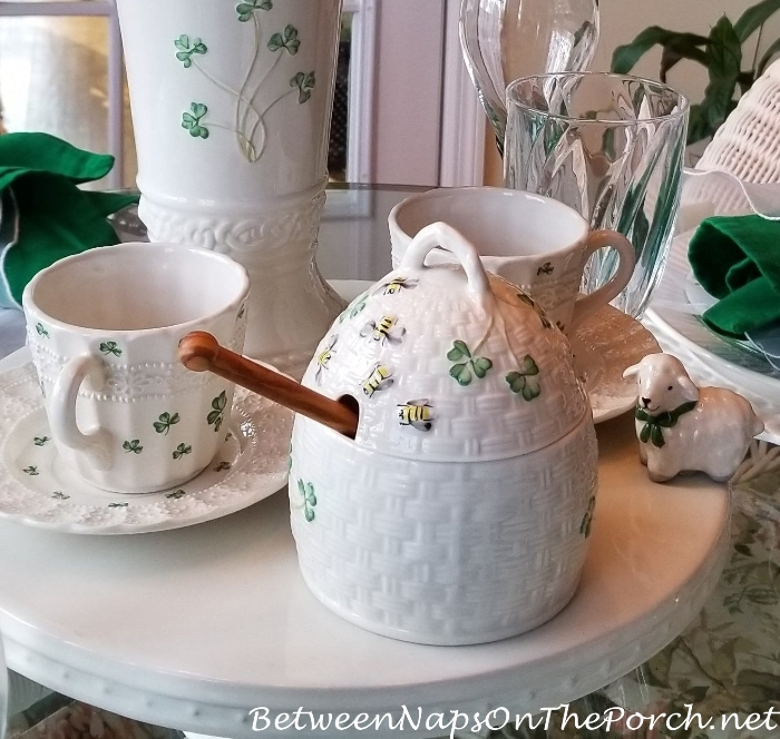 Belleek Kylemore Honey Pot & Nora Fleming Lamb for St. Patrick's Day