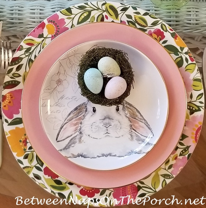 Bunny Plate, Egg & Nest Place Card Holder, Floral Chargers, Easter Table