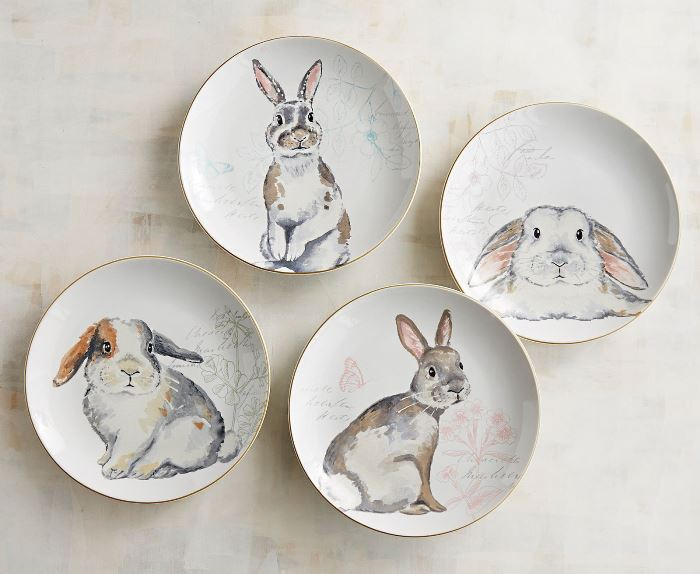 Bunny Plates in Gray and White
