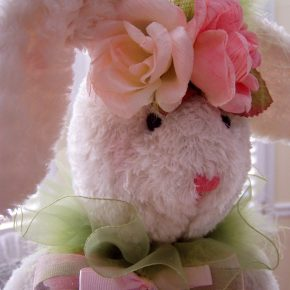 Bunny with Green, Pink Flowers and Ribbons for Easter