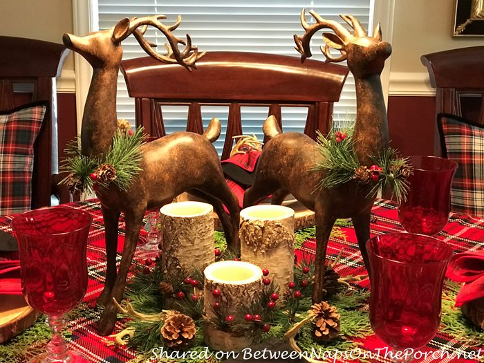 Deer Centerpiece with bark candles
