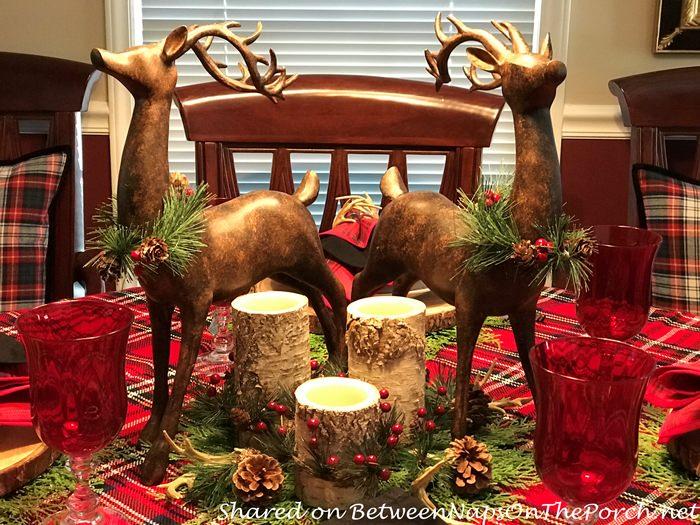 Deer Centerpiece with bark candles