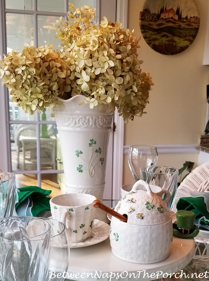 Dried Limelight Hydrangeas in St. Patrick's Day Tablescape