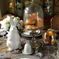 Easter Spring Table Setting in Neutral Tones with Adorable Bunny Plates 02