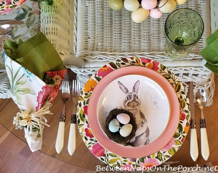Easter Table, Bunny Plates, Pink & Green Floral Charger Plates