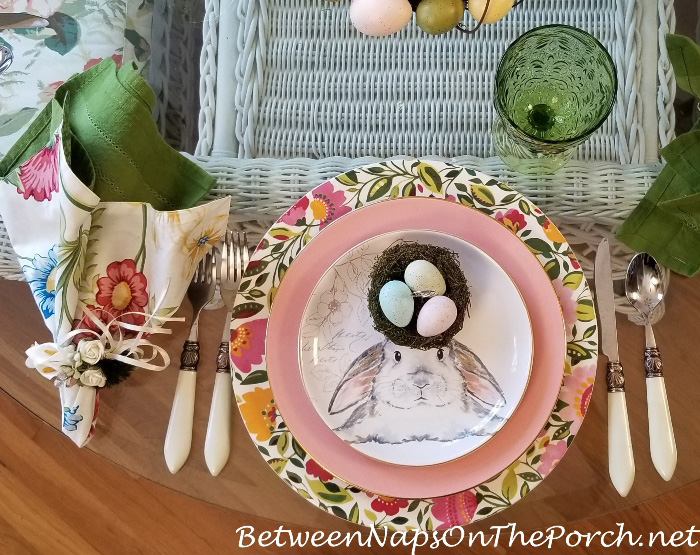 Easter Table Setting Ideas with Bunny Salad Plates
