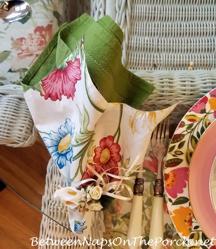 Floral Napkins for Easter Table Setting