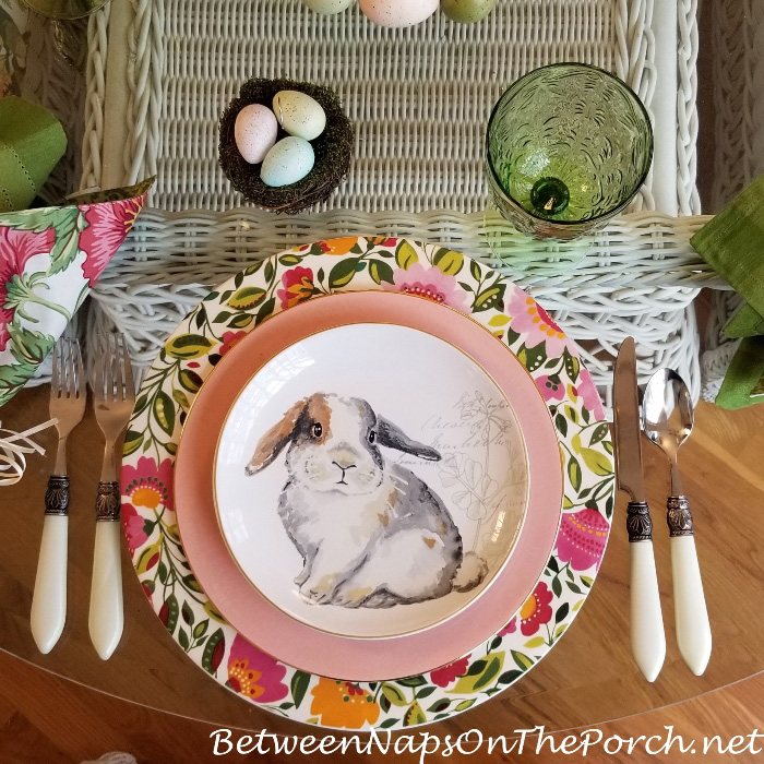 Floral and Bunny Easter Table Setting 2