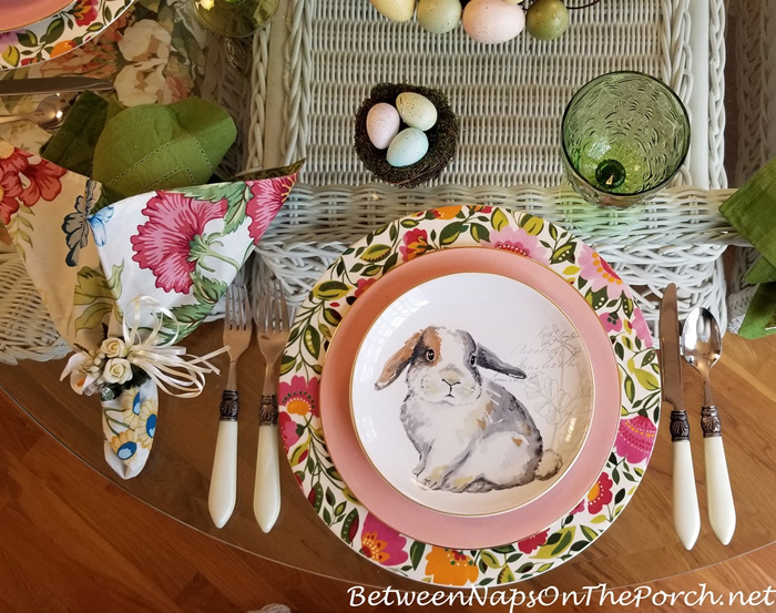 Floral and Bunny Easter Table Setting