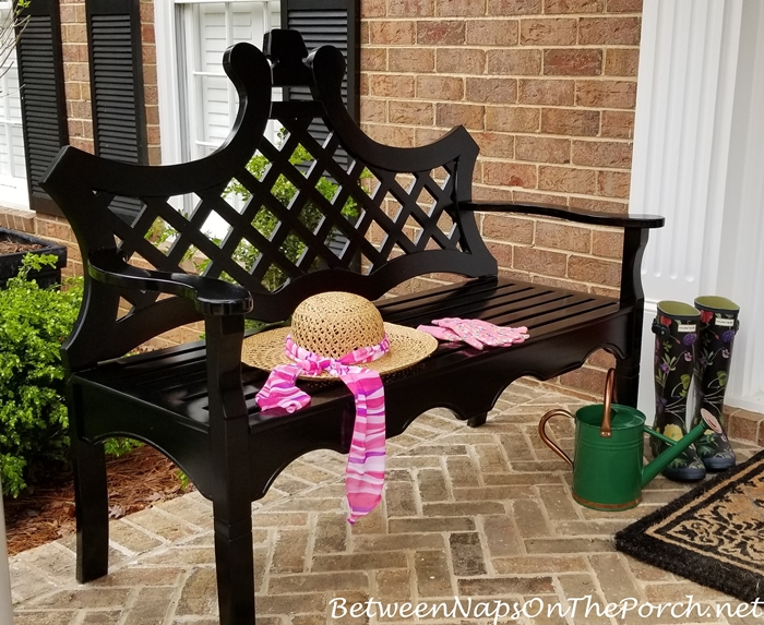 Front Porch Bench, Garden Hat, Hunter Garden Boots