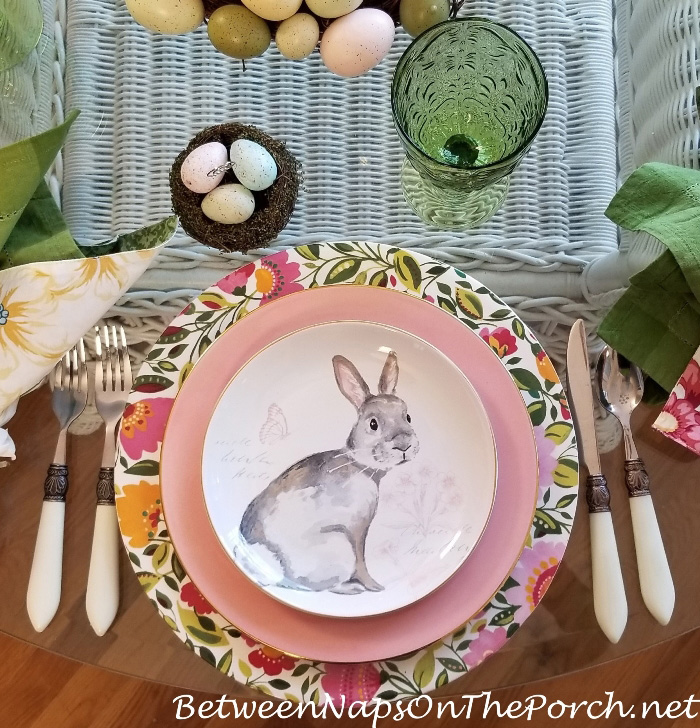 Gray, White, Pink Bunny Plates for Easter Table 2