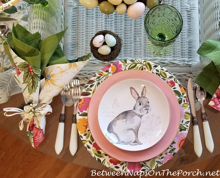 Gray, White, Pink Bunny Plates for Easter Table
