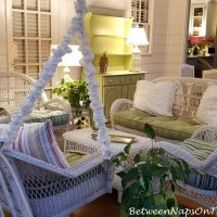 Nighttime on the porch, White Wicker