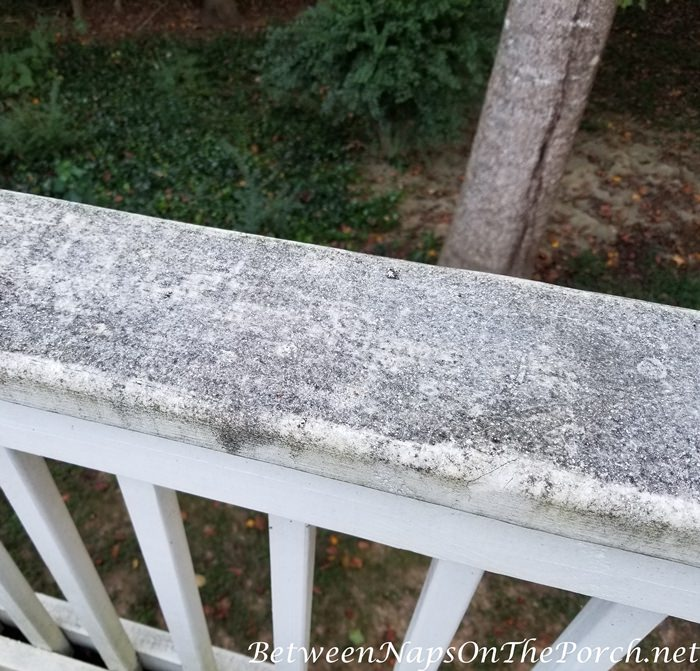 Paint White Railing Brown to Cover Dirt & Stain from Trees Overhead
