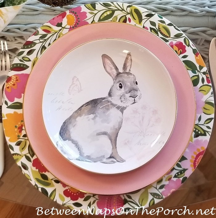 Pink, Gray, White Bunny Plates for Easter, Floral Chargers