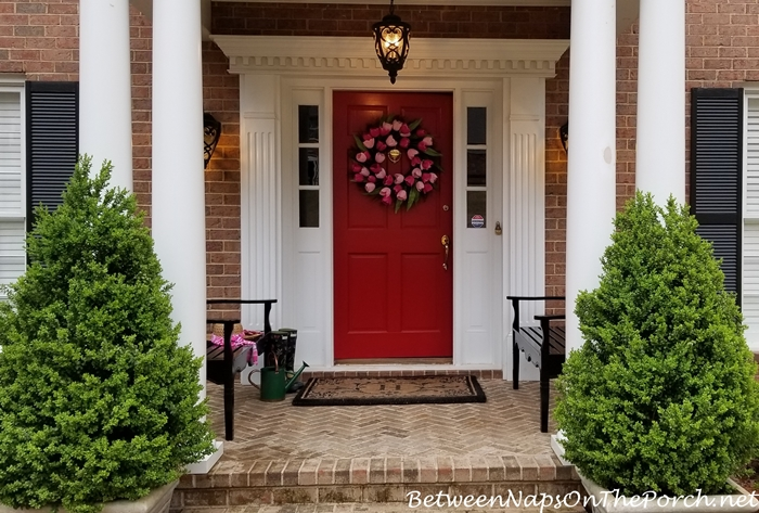 Red Front Door with Spring Tulip Wreath