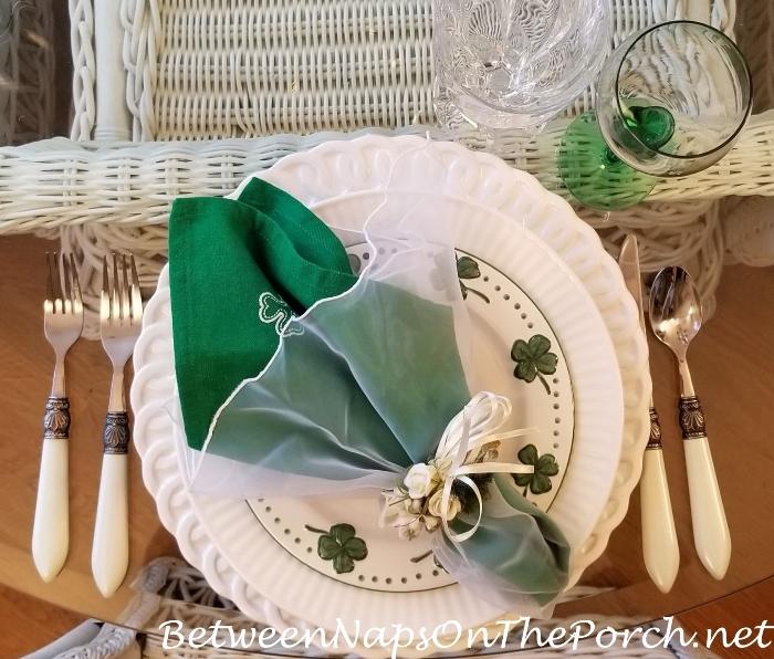 Shamrock Napkins for St. Patrick's Day Table Setting