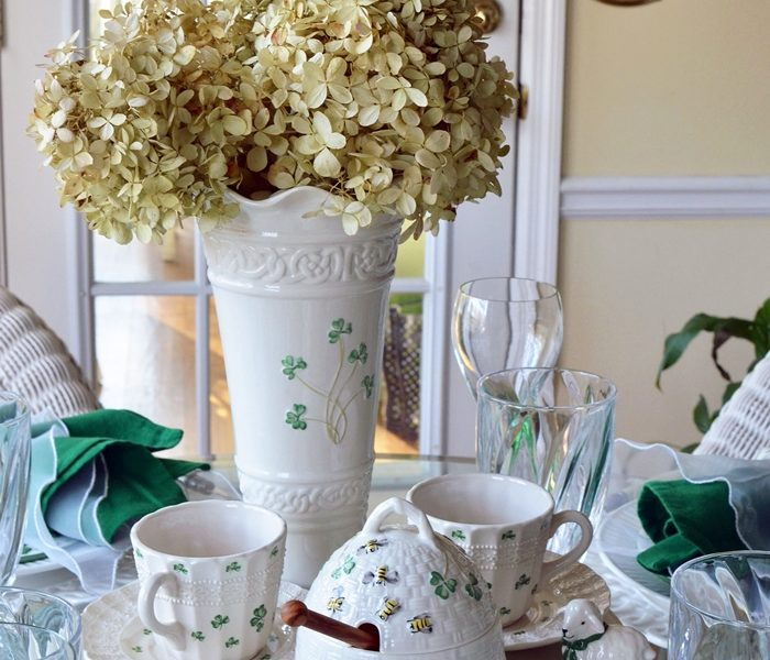St. Patrick's Day Table Centerpiece with Belleek Kylemore Honey Pot